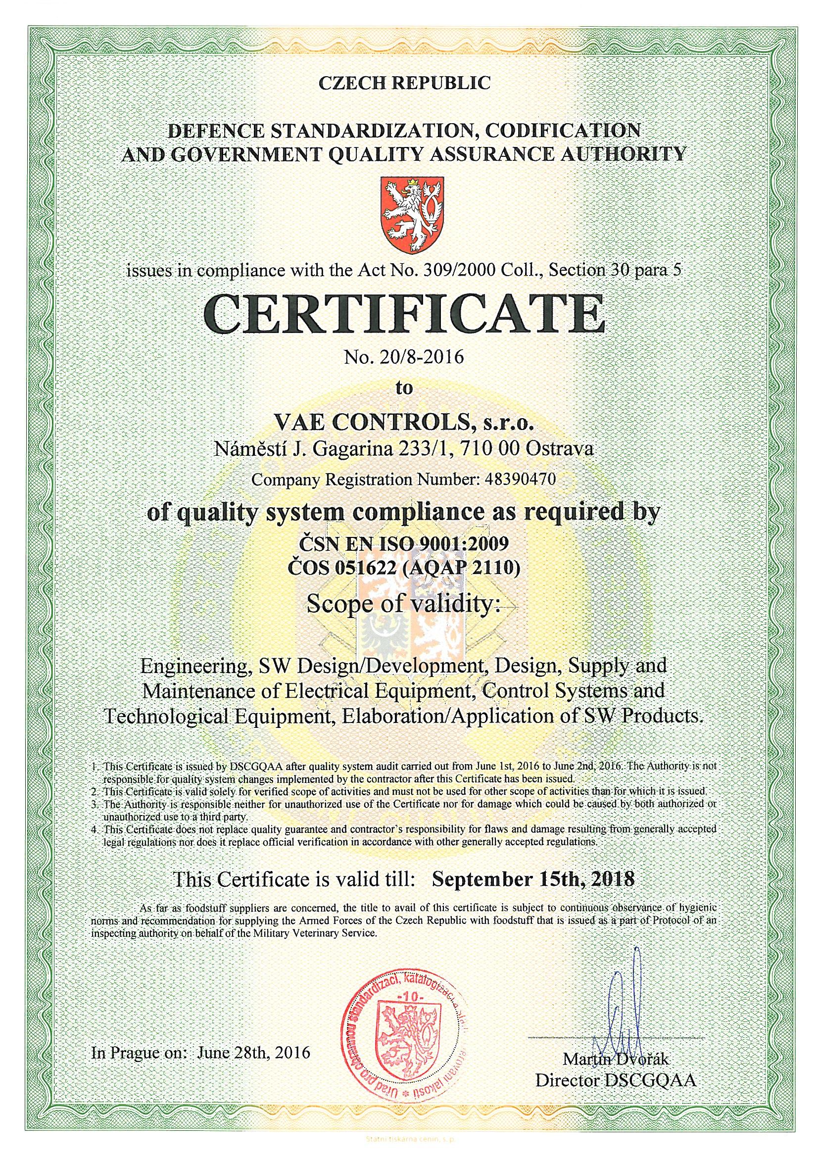 Certificates Vae Controls