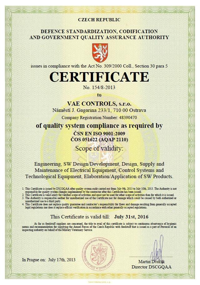 Certificates | VAE CONTROLS